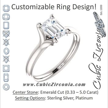 Cubic Zirconia Engagement Ring- The Carrie Anne (Customizable Emerald Cut Fabulous Solitaire)