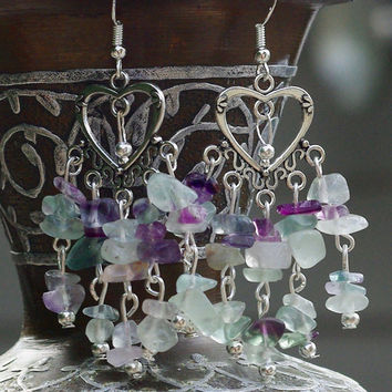 Rainbow Fluorite Chandelier Earrings ~ Semi Precious ~  Natural Stones ~  Boho Jewellery ~ Bohemian ~ Summer Jewellery  ~ Gift for Wife