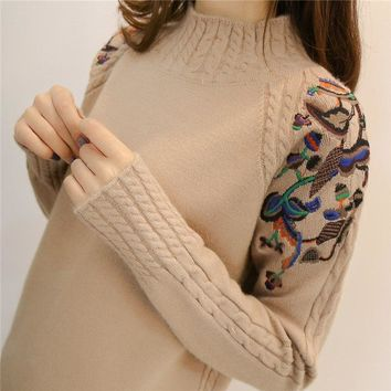 2018 female half turtleneck sweater female sleeve head embroidery twist loose all-match long sleeved bottoming sweaters