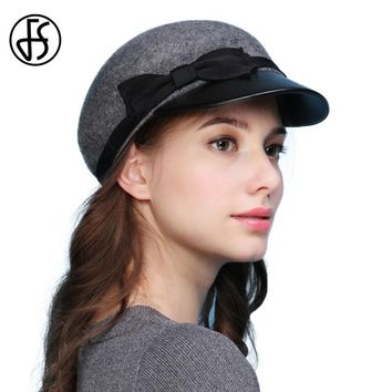 FS Winter 100% Wool Felt Military Hats For Women Quality Pu Brim Vintage Visor Boina Flat Caps Casquette Bone Captain Hats