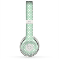 The Light Green with White Polkadots Skin for the Beats by Dre Solo 2 Headphones
