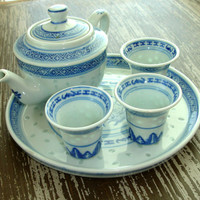 Vintage Childs Tea Set, Signed Blue White Translucent Rice Pattern, Small Miniature Mini Teapot Pot Plate Cups, China Chinese Oriental Asian
