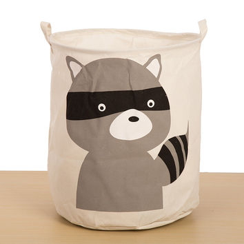 Big Size Cartoons Animal Toy Storage Bin Cotton Linen Folded King Size Waterproof Storage Basket 40x50 CM [6377497668]