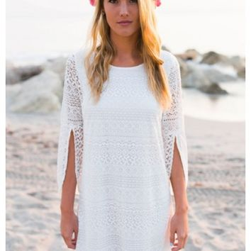 Caileen - White lace shift dress with aztec cross back. Also available in black.