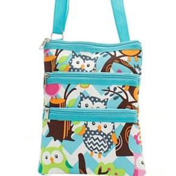 Chevron Owl Print Messenger Bag - 4 Color Choices