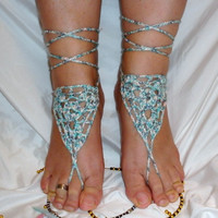 10% discount with coupon code SLAVENA bAREFOOT SANDALS , Crochet Multicolor Chic Nude Summer Shoes, Foot Jewelry, Hippie Sandals Beach