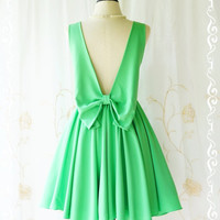 A Party Angel Dress  Spring Green Party Dress Backless Prom Dress Bow Back Cocktail Dress Green Wedding Bridesmaid Dresses XS-XL