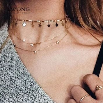 LWONG Dainty Gold Color Chain Tiny Star Choker Necklace for Women Bijou Necklaces Pendants Simple Boho Layering Chokers Chockers
