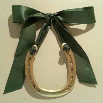 lucky horsehoe gold horseshoe w Olive Green Satin Ribbon-Housewarming Gift-Birthday Gift-Get Well Soon-Promotion Gift