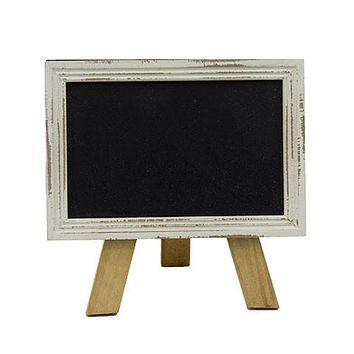 Mini Free Standing Wood Frame Chalkboard for Counter - 6-in White