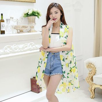 2017 Summer Chiffon Scarf Women Clothing Beach Silk Scarf Sunscreen Fashion Flower Print Lemon Pashmina Foulard Ponchos Capes