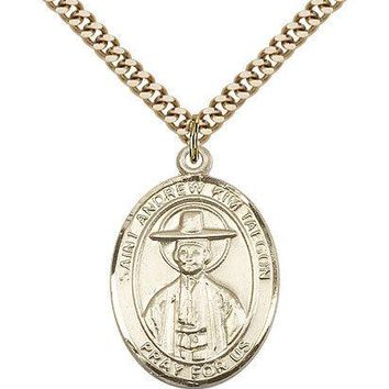 "Saint Andrew Kim Taegon Medal For Men - Gold Filled Necklace On 24"" Chain - 3... 617759004755"