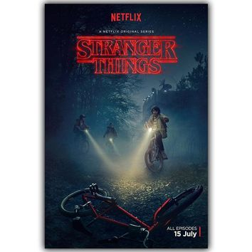 Stranger Things TV Movie Poster Silk Art Print Poster Bedroom Living Room Wall Picture Painting Home Decoration