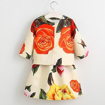 Girls Clothes Sets Costume for Kids Clothing Children Clothing Sets Girls Tracksuits Flower Jacket+Dress Baby Outfits