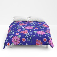 Floral Dot Motif (Blue version) Comforters by Sarah Oelerich