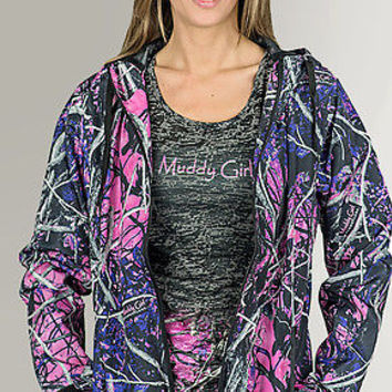 PINK PURPLE CAMOUFLAGE FULL ZIP WOMEN'S WINDBREAKER JACKET | MUDDY GIRL CAMO