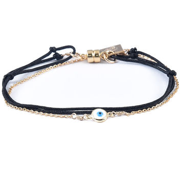 Dafne | Black Wrap Enamel Evil Eye with Chain Bracelet