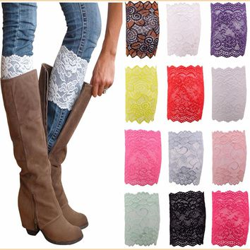 Promotion Stretch Lace Toppers Bohemian Leg Warmers Boots Cuffs