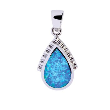 Silver with Rhodium Finish Shiny Textured Teardrop Pendant with Created Opal