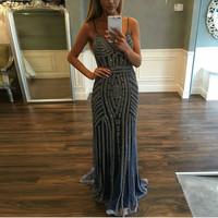 Great Gatsby Evening Dress Fancy Glitter Beaded Real Image Women Party Gowns Custom Spaghetti Sexy Prom Dresses Robe De Soiree