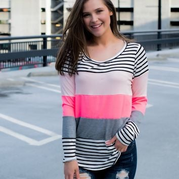 Neon Striped Top- Pink