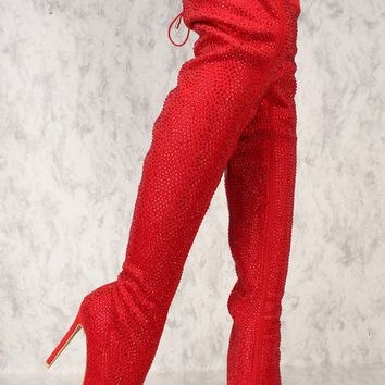 Sexy Red Rhinestone Pointy Toe Thigh High Heels Boots Faux Suede