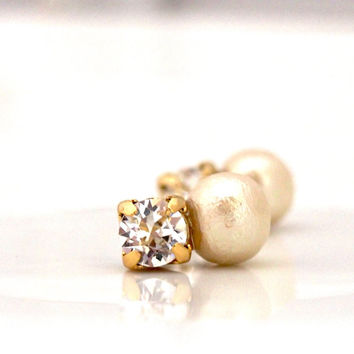 Classy Cotton Pearl Magnetic Earrings with Swarovski Crystals, Bridal Pearl Magnetic Earrings, Bridal Pearl Clip on Earrings,