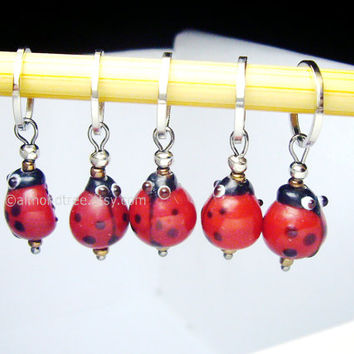 cute Red ladybug knitting accessories stitch markers, snag free, ladybird, id1320560, snagless, stitchmarker, pattern aide, yarn marker