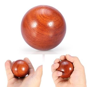 1PC 50mm Health Exercise Baoding Balls Natural Wooden Finger Massage Stress Relief Meditation Handball Fitness Ball Health Care