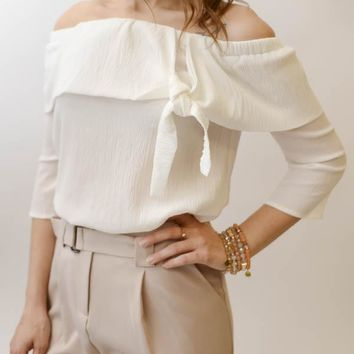 Off the Shoulder Tie Top -  White