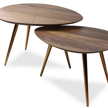 Maddox Mid-Century Modern Nesting Coffee Table Set Walnut