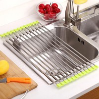 Rack Stainless Steel Foldable Dish Cutlery Drainer Drying