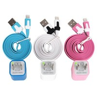 Total 6pcs/lot! Colouful 3PCS USB Data Sync Charging Cable Cord And 3P