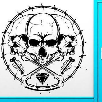 Wall Decal Skull Hippie Bones Scary Cool Decor For Living Room Unique Gift (z2500)