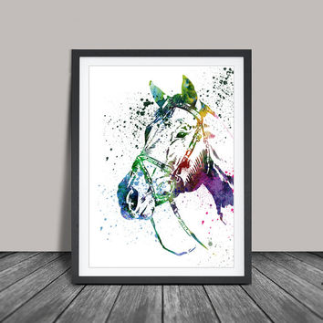 Horse Art Watercolor Print, Horse Painting Watercolor Art Print Home Decor, Colorful Animal Art (49)
