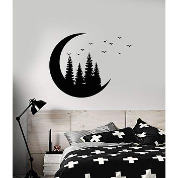 Vinyl Wall Decal Crescent Moon Forest Trees Birds Nature Room Decor Stickers (2791ig)