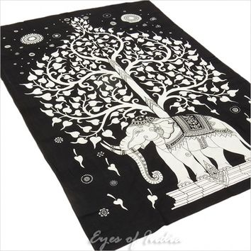 Twin White Tree of Life Elephant Wall Hanging Bedspread Tapestry