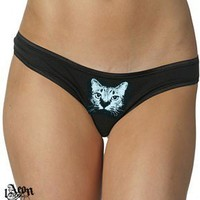 1AEON NEW  cotton/spandex Low  Rise Thong with Cat print by 1AEON