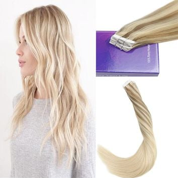 50G Best Skin Weft Adhesive Tape in Balayage Ombre Remy Human Hair Extensions