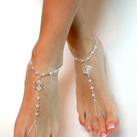 Flower Barefoot Sandals Chained Sandals