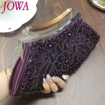 2017 New Design Women's Evening Bags Vintage Beading Sequined Totes Wedding Party Socialite Clutches Ladies Night Purse 2 Colors