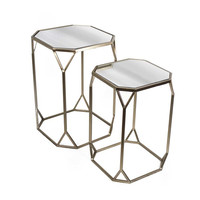 2-Piece Michelle Mirrored End Table Set