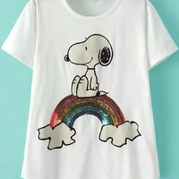 White Sequined Snoopy Print Short Sleeve T-shirt