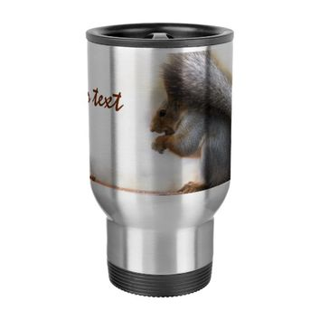 Squirrel on a bench and some nuts travel mug