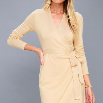 Literary Lover Beige Wrap Sweater Dress
