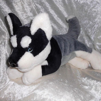 SIBERIAN HUSKY stuffed animal, soft toy Husky plush, handmade WOLF Akita mix breed, stuffed wolf soft toy ooak, soft puppy black white gray