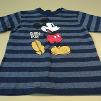 Disney Store Boys T-Shirt Mikey Mouse Cotton Polyester 4XS Blues Striped -- Preowned