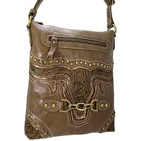 Embossed Western Cowgirl Texas Longhorn Cross Body Purse Messenger Bag (Tan)
