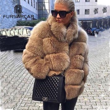FURSARCAR Women Real Fox Fur Coats Winter Whole Genuine Leather Short Female Jacket Thick Natrual Fox Fur Coat With Fur Collar