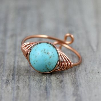 Copper turquoise sizable ring  Free US Shipping handmade anni designs